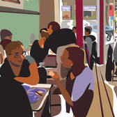 Ellen Byrne - Crowd, Dining, Editorial, Graphic, Interiors, Lifestyle, People, Recreation, Relationships, Urban, Vector Art, Young Adult