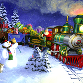 Tom Newsom - Christmas, Delivery, Festive, Gift, Holiday, Holidays, Present, Santa Claus, Train, Winter